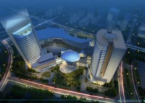 Anantara Minhang Shanghai Hotel - aerial view rendering