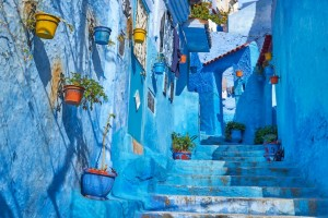 Blue painted walls in old medina of Chefchaouen, Morocco, Africa.
