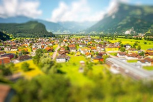 Landscape view on Balzers village in Liechtenstein. Panoramic view with tilt-shift image technic