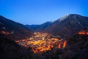 Andorra la Vella skyline at sunset in Pyrenees mountains