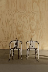 (KOW) Michael E. Smith, Untitled, 2019, chairs, dread locks, installation view Arsenale Giardino delle Vergini, Venice Biennale