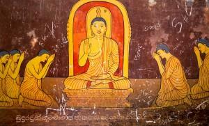 Sri Lanka, in old buddha temple, tourism attractions. Ceylon, Unesco heritage. Asia culture, bubbhism religion