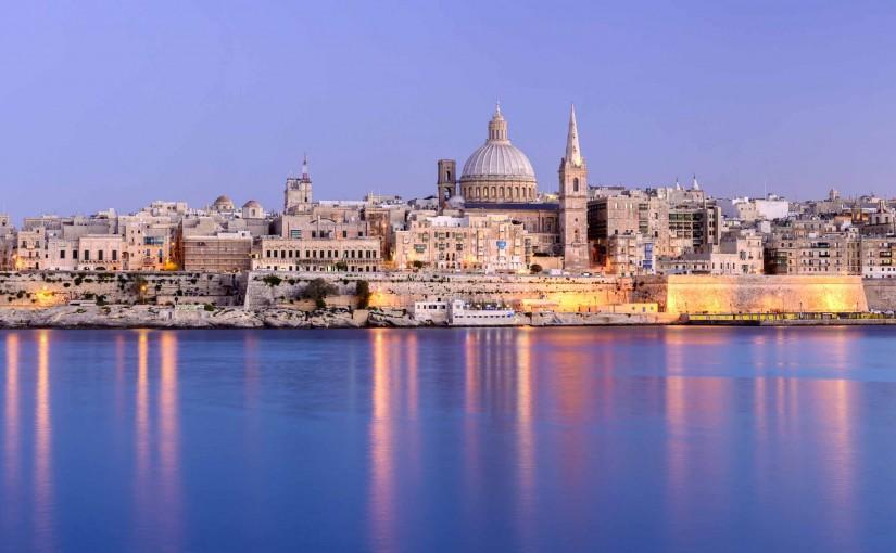 The harbour at Valetta, Malta at twilight.
