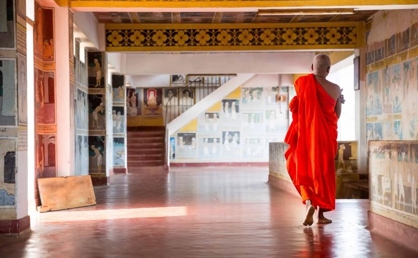 Buddhist in old buddha temple. Ceylon, Unesco heritage. Asia culture, buddhism religion